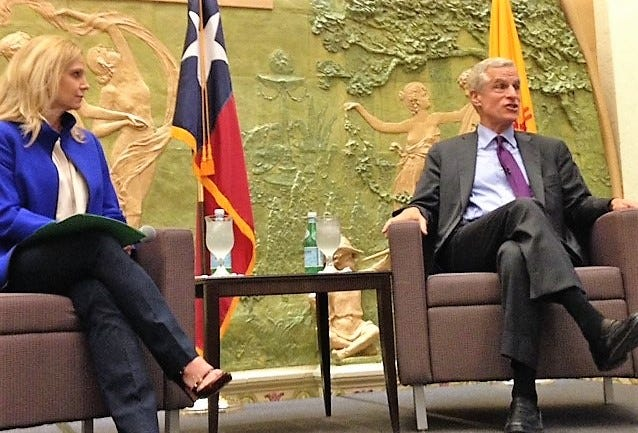 Rob Kaplan, CEO of the Federal Reserve Bank of Dallas, answers a question posed by Mary Kipp, left, El Paso Electric CEO and member of the Dallas Fed board of directors.