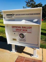 A vote by mail drop box in Ventura County, California