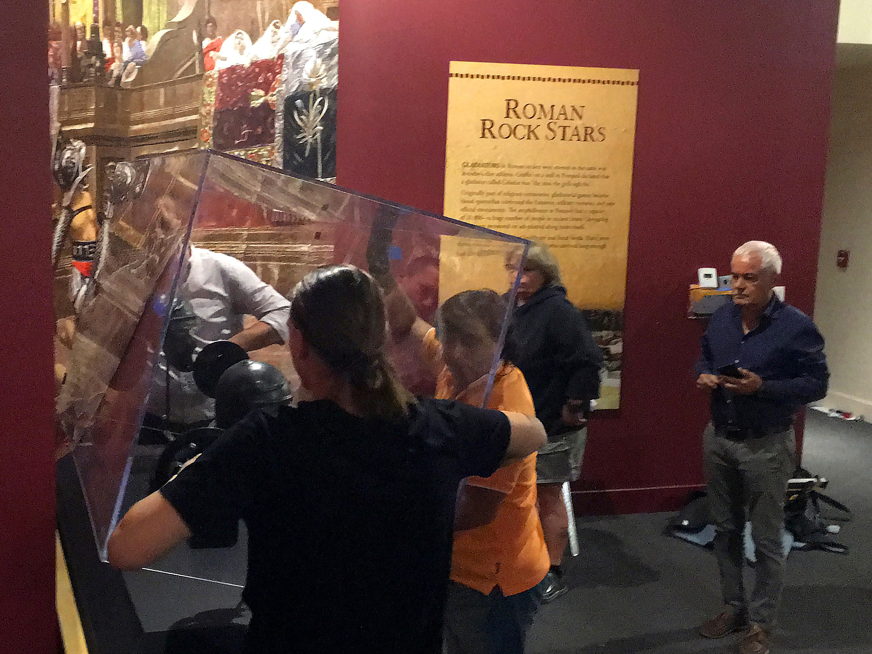 Exhibit staff install one of many displays as part of the Pompeii exhibit at the Ronald Reagan Presidential Library & Museum in Simi Valley on Tuesday.