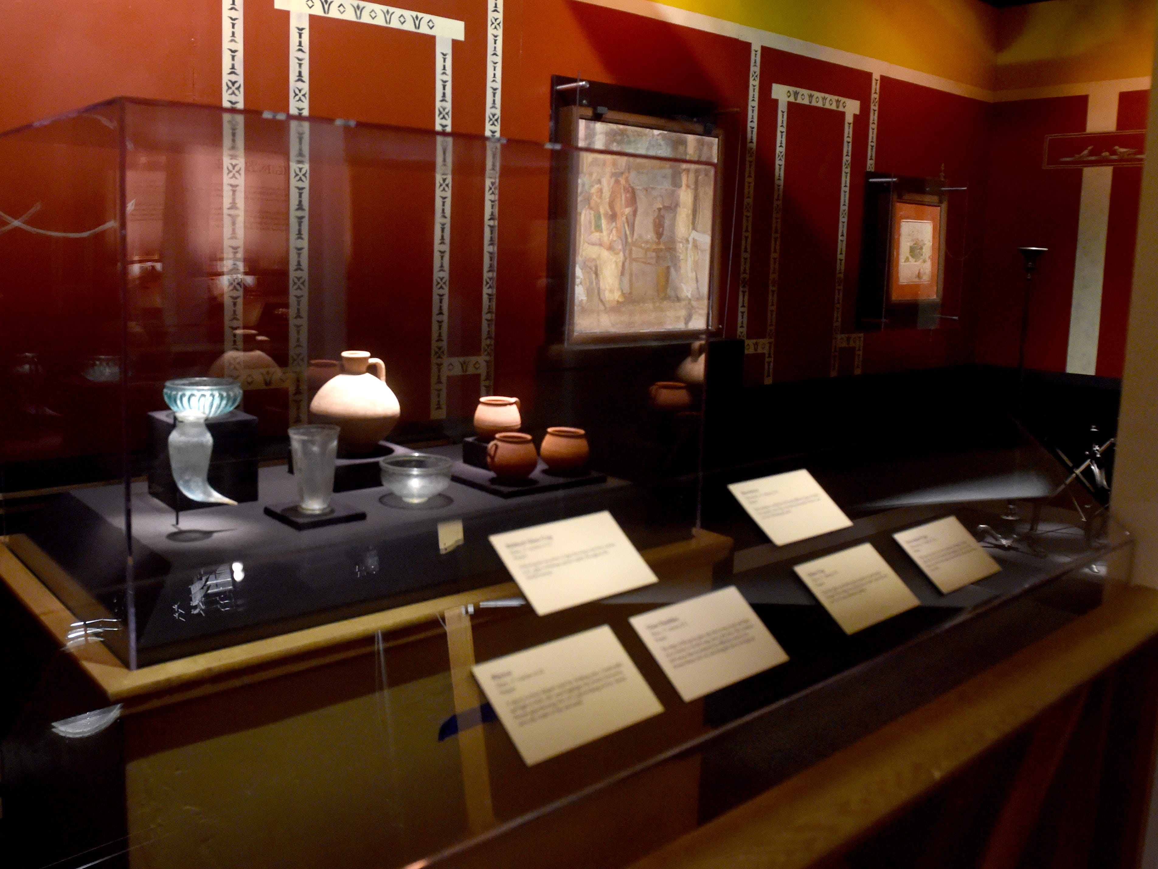 Various examples of ancient dishware are part of the Pompeii exhibit at the Ronald Reagan Presidential Library & Museum in Simi Valley.