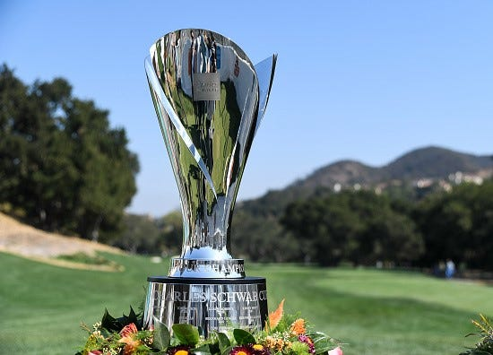 The Charles Schwab Cup is seen during the final round of last year's PGA Tour Champions Invesco QQQ Championship  at Sherwood Country Club. The top players on the Champions circuit return to Sherwood on Oct. 25-28.