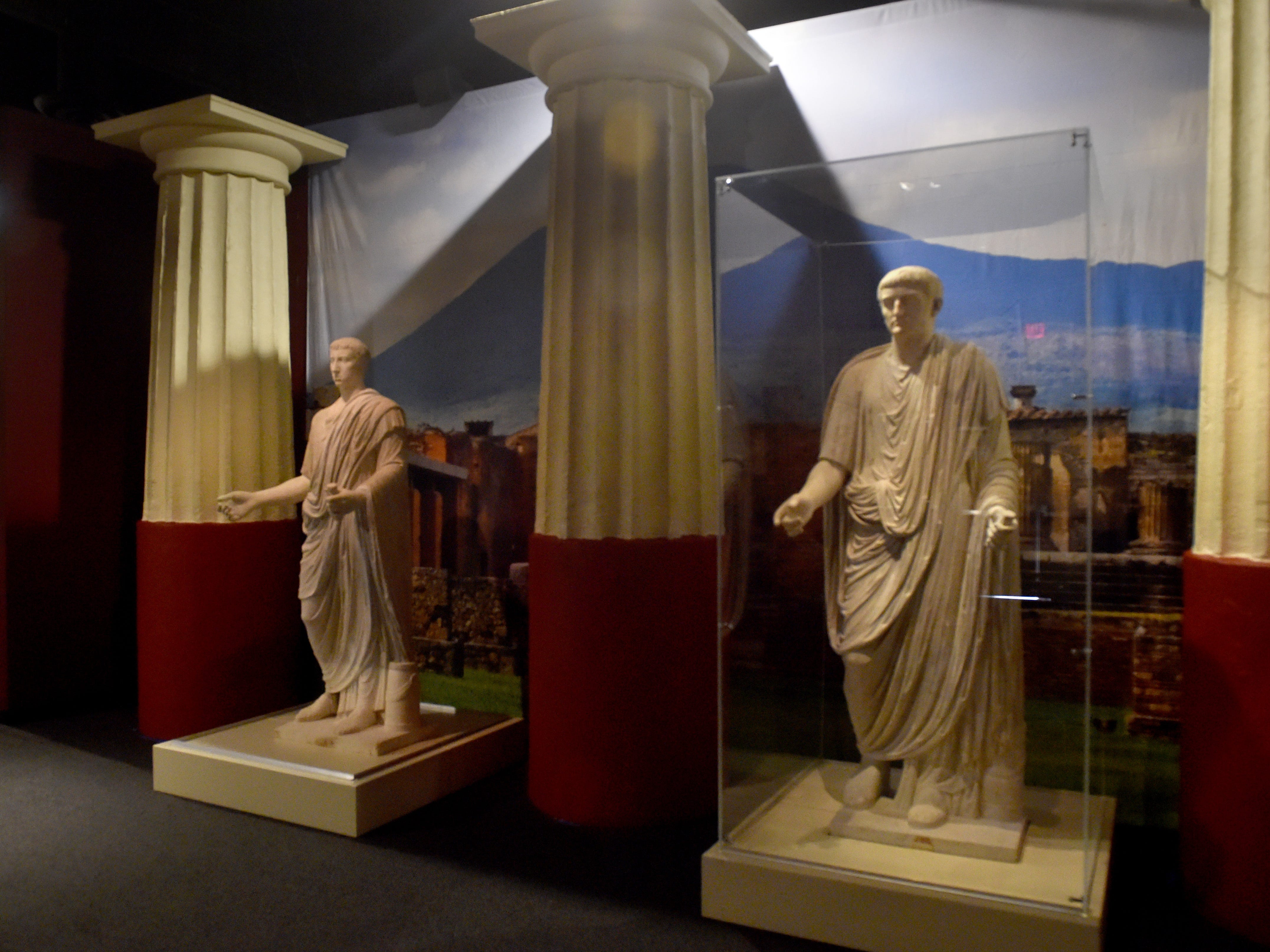 Two large marble statues tower over a room in the Pompeii exhibit at the Ronald Reagan Presidential Library & Museum in Simi Valley.