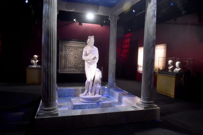 A statue of Aphrodite serves as the centerpiece in one room of the Pompeii exhibit at the Ronald Reagan Presidential Library & Museum in Simi Valley. This is the first time this statue has ever been exhibited in the United States.