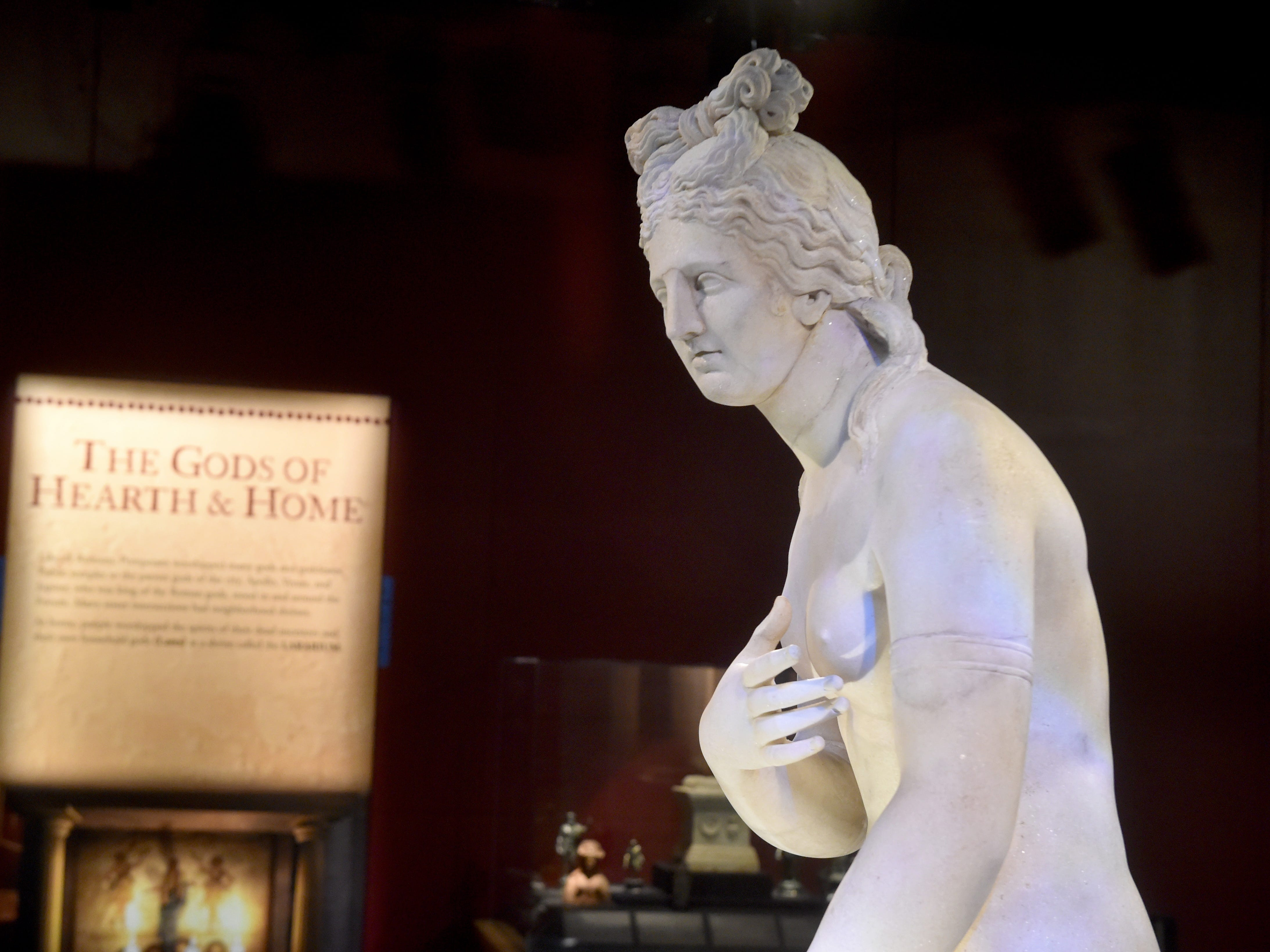 A statue of Aphrodite serves as the centerpiece in one room of Pompeii exhibit at the Ronald Reagan Presidential Library & Museum in Simi Valley. This is the first time this statue has ever been exhibited in the United States.