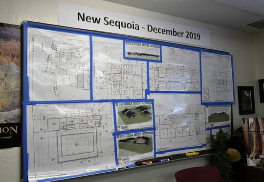 PLans for the new Sequoia High School campus hang in Principal Aldolfo Reyes' office on Monday, October 2, 2018.
