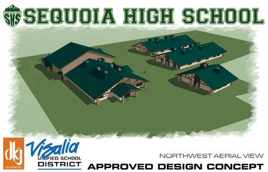 A rendering of the new Sequoia High School campus to be located on North Woodland Street in Visalia.