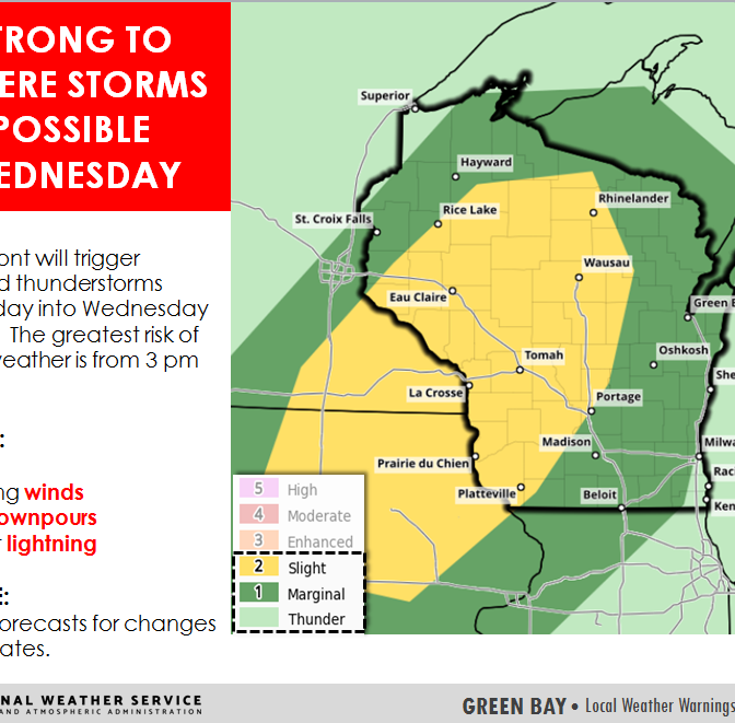 Chance for severe weather lingers with warm temperatures Wednesday around Wisconsin