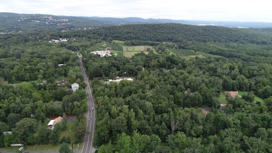The Striker property, bottom right, is 75 acres off Route 45 that the Town of Ramapo is looking to sell for use as a campus for yeshivas Sept. 20, 2018. Above that, in center of photo, is Skyview Acres