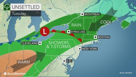 Storms are expected to drench the Lower Hudson Valley on Oct. 2, 2018.