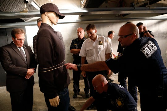 Wrap Technology demonstrated a hand held bolo device to immobilize individuals to local law enforcement at the Yonkers Police Department on Oct. 2, 2018.  The device is in test and demo phases and is not currently being sold to departments.