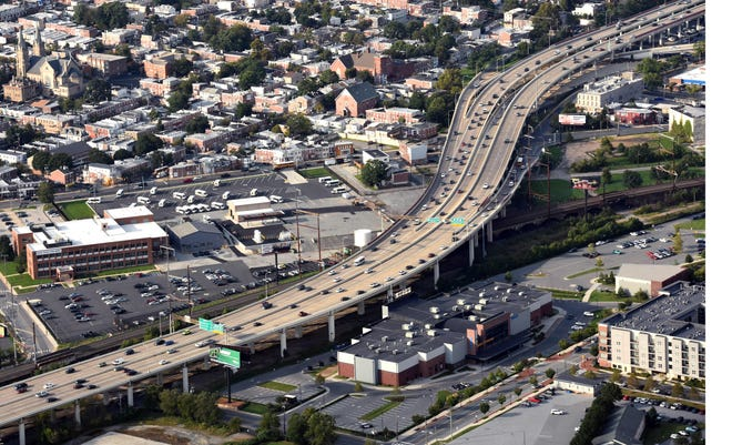 Aerial view of I-95 looking north at Penn Cinema at the Riverfront in Wilmington.