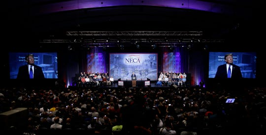 President Donald Trump speaks at the National Electrical Contractors Association convention in Philadelphia, Tuesday, Oct. 2, 2018. (AP Photo/Matt Rourke)