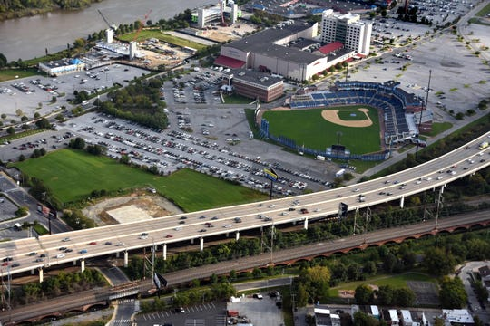 Aerial view of the I-95 corridor at Frawley Stadium in Wilmington.