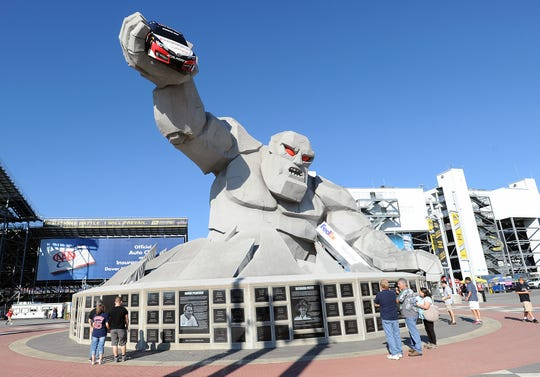 """Miles"" The Monster Mile monument greets race fans at Dover International Speedway. A smaller version of MIles will go home this weekend with the winner of the fourth race of the 2018 Monster Energy NASCAR Cup Series playoffs and the opening race in the Round of 12."