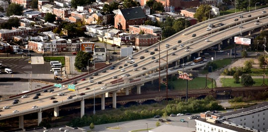 Aerial view of I-95 looking north near Liberty St.
