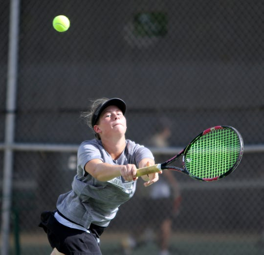 Wichita Falls High School's Alexa Alden plays doubles against Rider Tuesday, Oct. 2, 2018, at Rider.