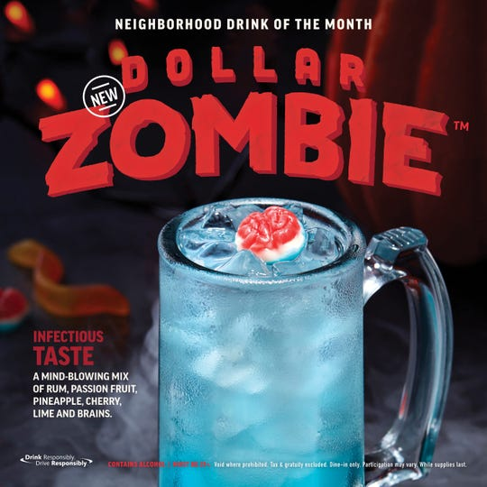 A promotion for Applebee's Dollar Zombie drink.