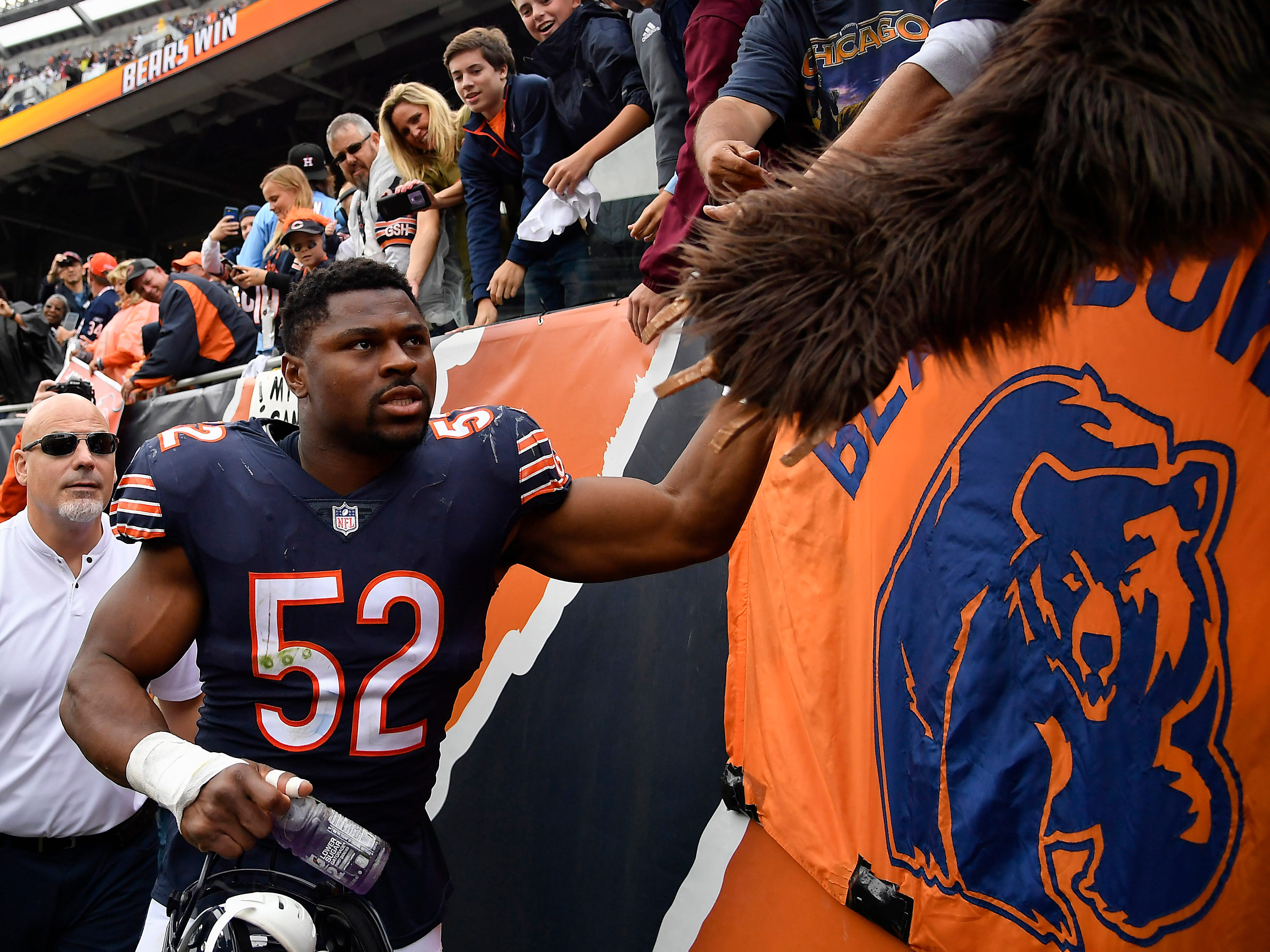 14. Bears (18): Khalil Mack MVP train? Chicago's newest transcendent linebacker has at least one sack and forced fumble in every game for first-place team.