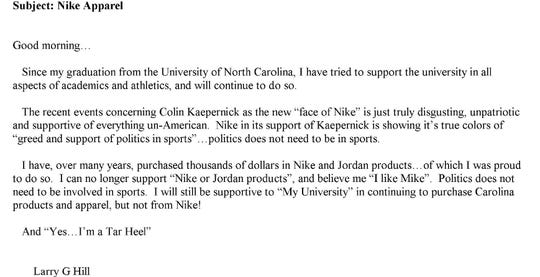 Letter sent to UNC about Nike.