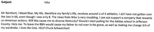 Email to Kentucky about Nike.