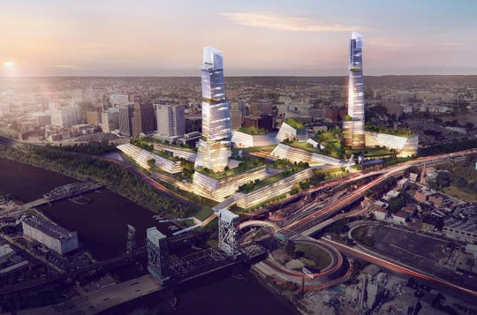 A proposed development by Fifth Avenue North Partners that could create a massive energy-efficient headquarters complex in Newark, New Jersey. Designed by California-based Heller Manus Architects, the concept calls for a 60-story tower at the former Westinghouse site just south of the Newark Broad Street station and a 55-story tower at the site of the Newark Bears and Eagles Riverfront Stadium.