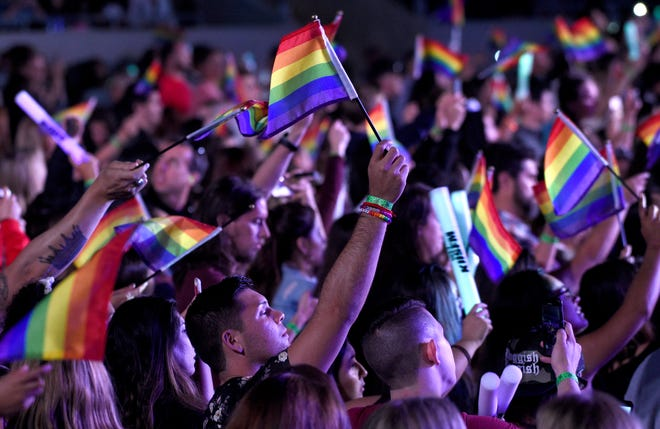 People wave rainbow flags in honor of LGBTQ Pride month at Wango Tango at Banc of California Stadium on June 2, 2018, in Los Angeles.