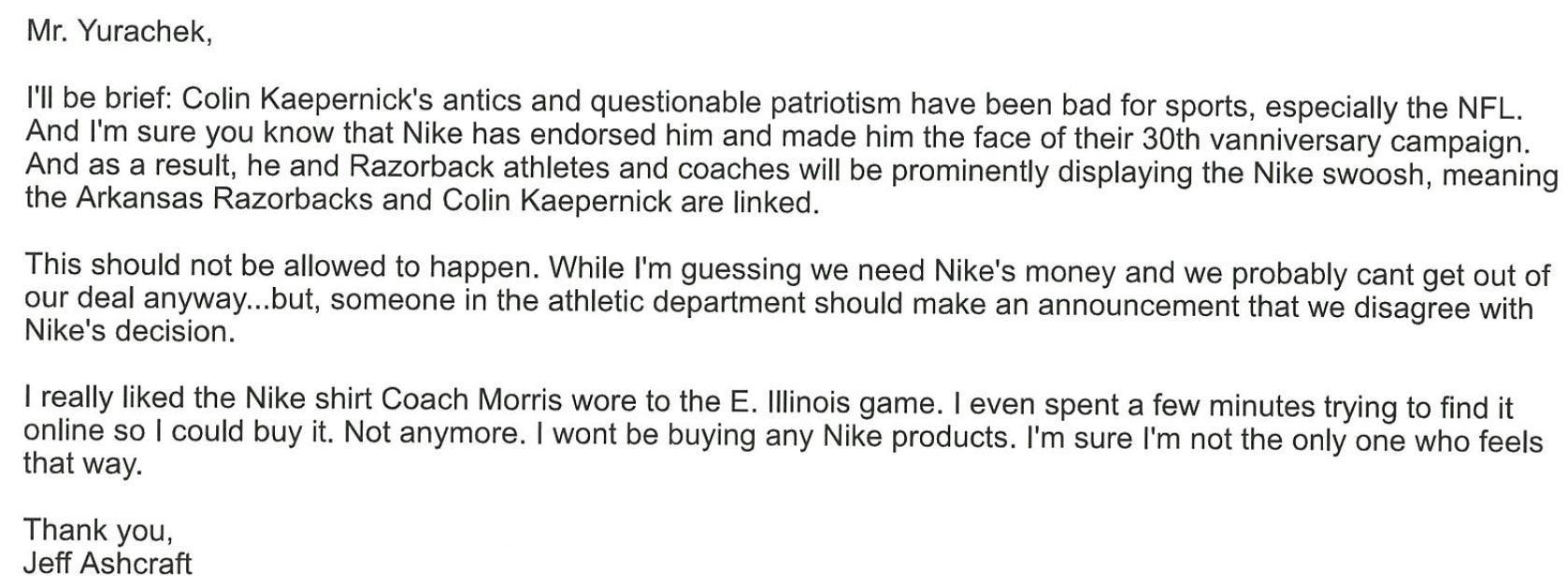 Email to Arkansas about Nike.