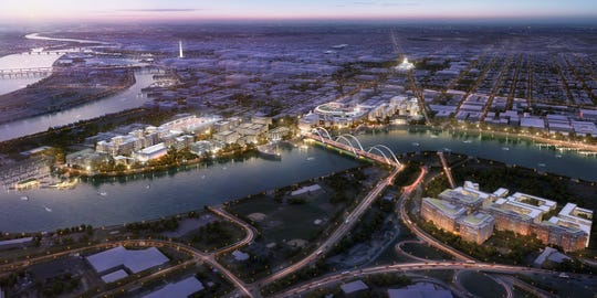 A proposed Anacostia riverfront campus for Amazon's second headquarters, in Washington D.C.