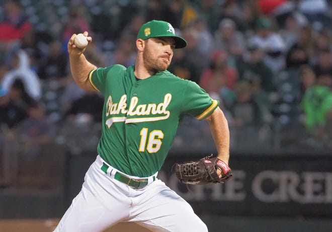 Liam Hendriks started eight games this season for the A's.