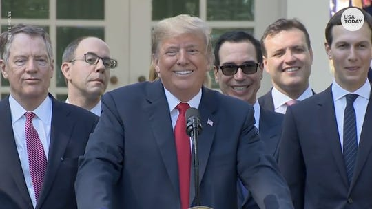 President Trump took questions during a press conference on the new trade deal with Mexico and Canada.