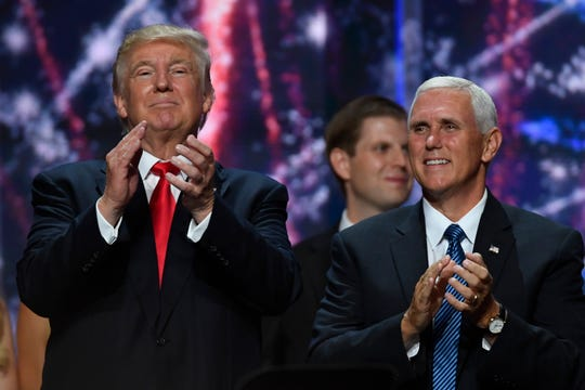 Donald Trump and Mike Pence on stage at the conclusion of the 2016 Republican National Convention at Quicken Loans Arena in Cleveland on July 21, 2016.