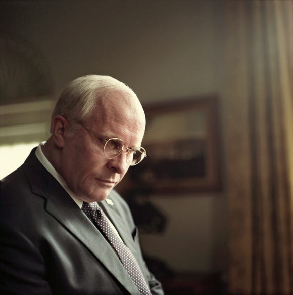 "Christian Bale transforms to Dick Cheney in ""Vice""."