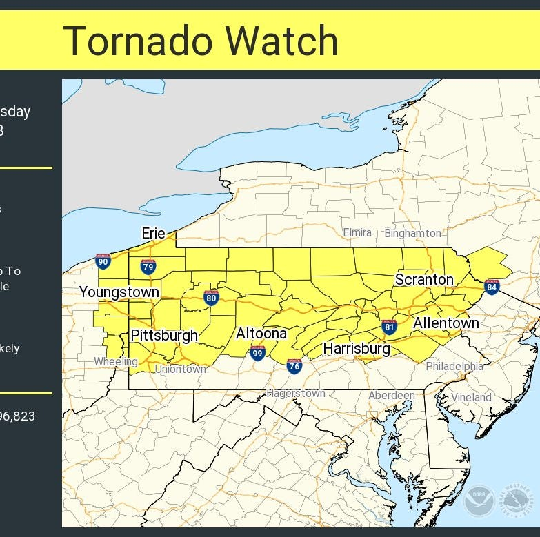 A tornado watch is in effect for nearly the entire state of Pennsylvania for Tuesday afternoon and evening.