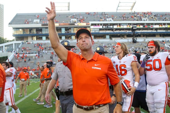 Clemson coach Dabo Swinney celebrates after this team's victory against Georgia Tech.