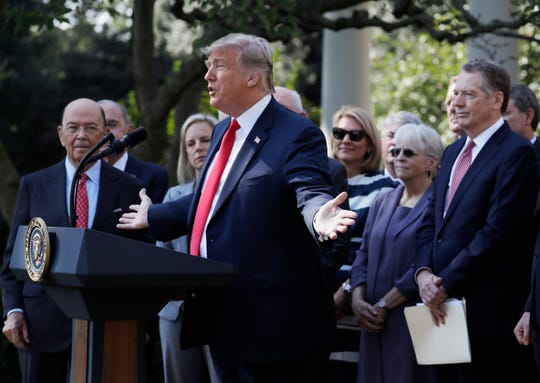 President Donald Trump announces the United States-Mexico-Canada Agreement on Oct. 1, 2018.