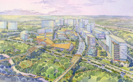 A rendering of the retail village above a stream valley park at The Hub at Innovation Station, a proposed 85-acre, mixed-use development at the boundary of Fairfax and Loudoun Counties in Northern Virginia, just west of Washington D.C.
