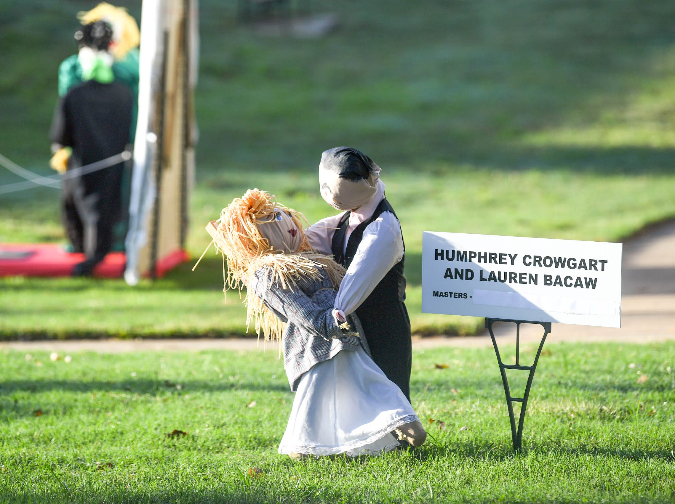 """""""Humphrey Crowgart and Lauren Bacaw"""" is one of many displays in The Pendleton Scarecrow Contest leading up to the 20th Fall Harvest Festival in the village green Saturday, October 6 from 10 a.m. to 5 p.m. The annual contest in Pendleton for businesses, individuals, groups, organizations and churches who create fun not scary Scarecrows. People driving around the downtown square can see different theme scarecrows."""