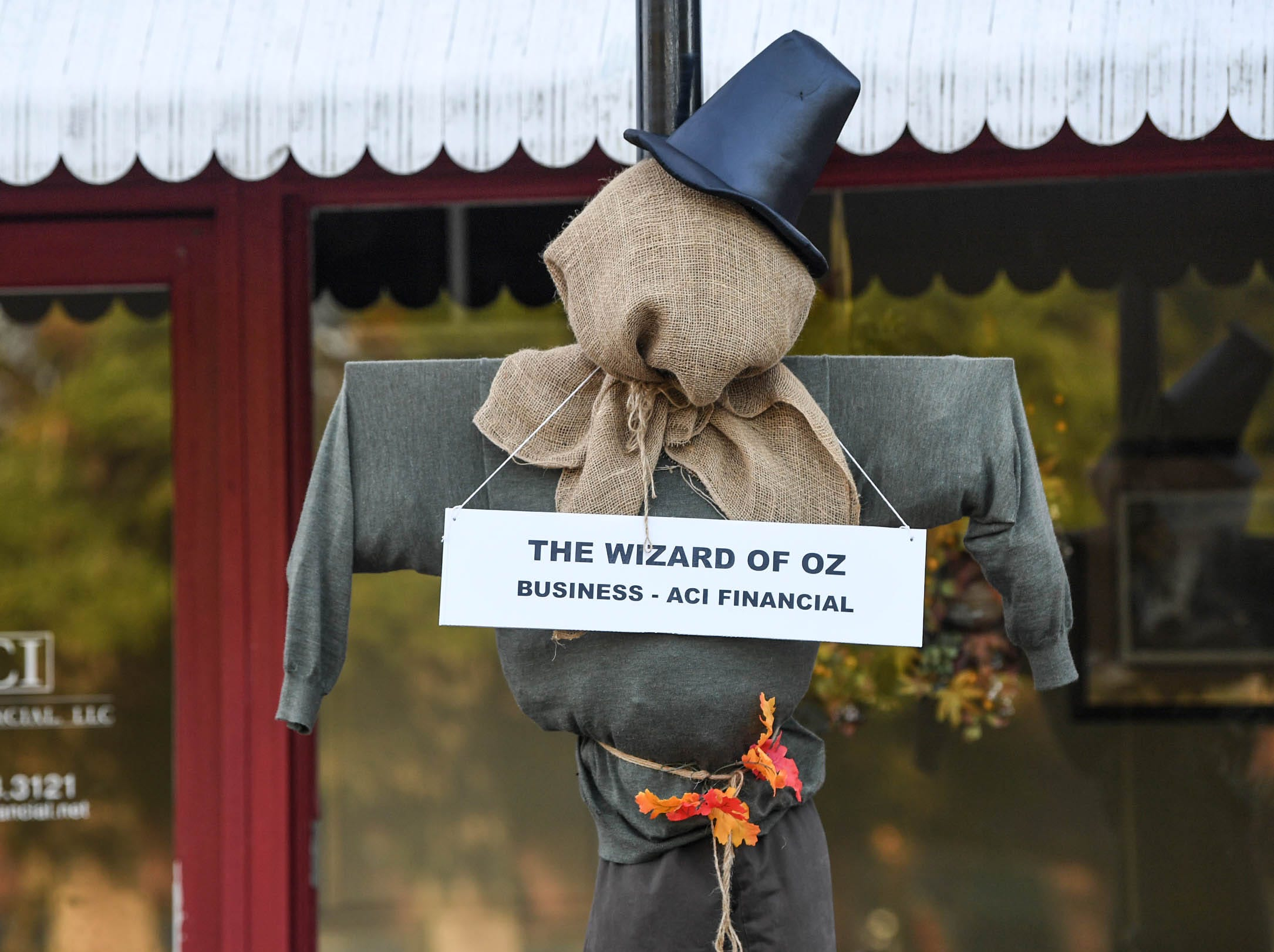 """""""The Wizard of Oz"""", by ACI Financial, is one of many displays in The Pendleton Scarecrow Contest leading up to the 20th Fall Harvest Festival in the village green Saturday, October 6 from 10 a.m. to 5 p.m. The annual contest in Pendleton for businesses, individuals, groups, organizations and churches who create fun not scary Scarecrows. People driving around the downtown square can see different theme scarecrows."""