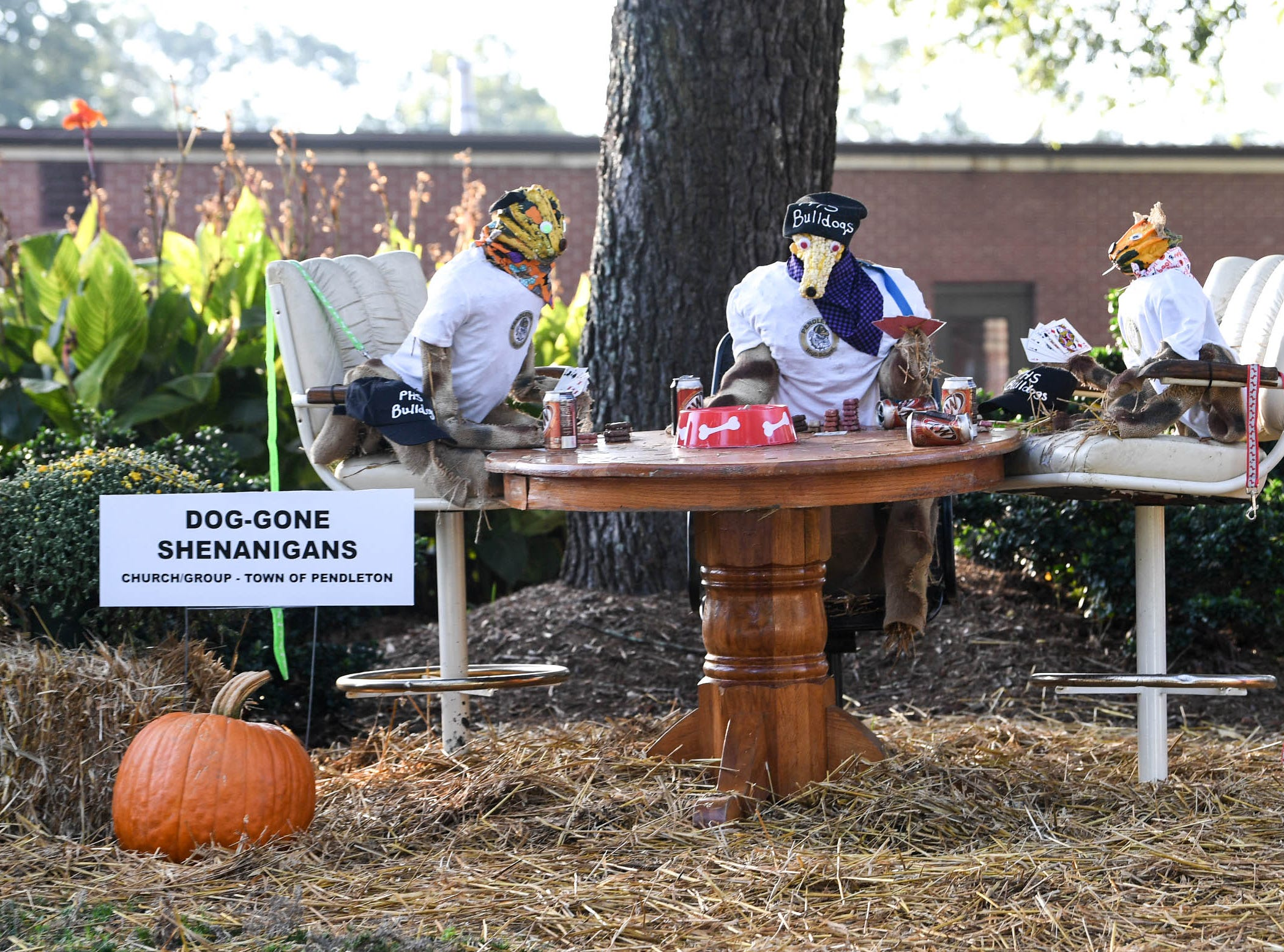 """""""Dog-Gone Shenanigans"""" by the Town of Pendleton is one of many displays in The Pendleton Scarecrow Contest leading up to the 20th Fall Harvest Festival in the village green Saturday, October 6 from 10 a.m. to 5 p.m. The annual contest in Pendleton for businesses, individuals, groups, organizations and churches who create fun not scary Scarecrows. People driving around the downtown square can see different theme scarecrows."""