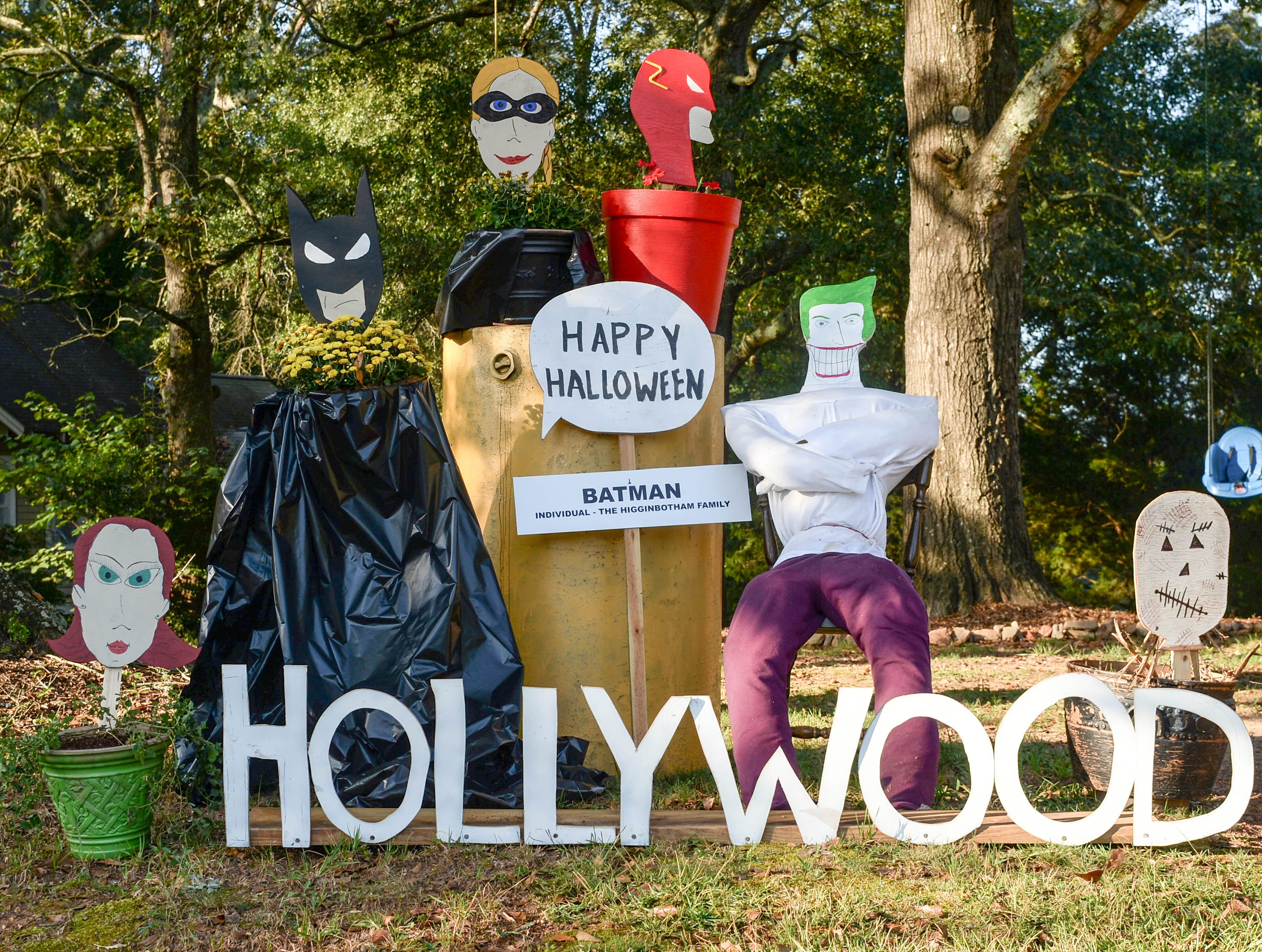 """""""Batman"""", by the Higginbotham family, is one of many displays in The Pendleton Scarecrow Contest leading up to the 20th Fall Harvest Festival in the village green Saturday, October 6 from 10 a.m. to 5 p.m. The annual contest in Pendleton for businesses, individuals, groups, organizations and churches who create fun not scary Scarecrows. People driving around the downtown square can see different theme scarecrows."""