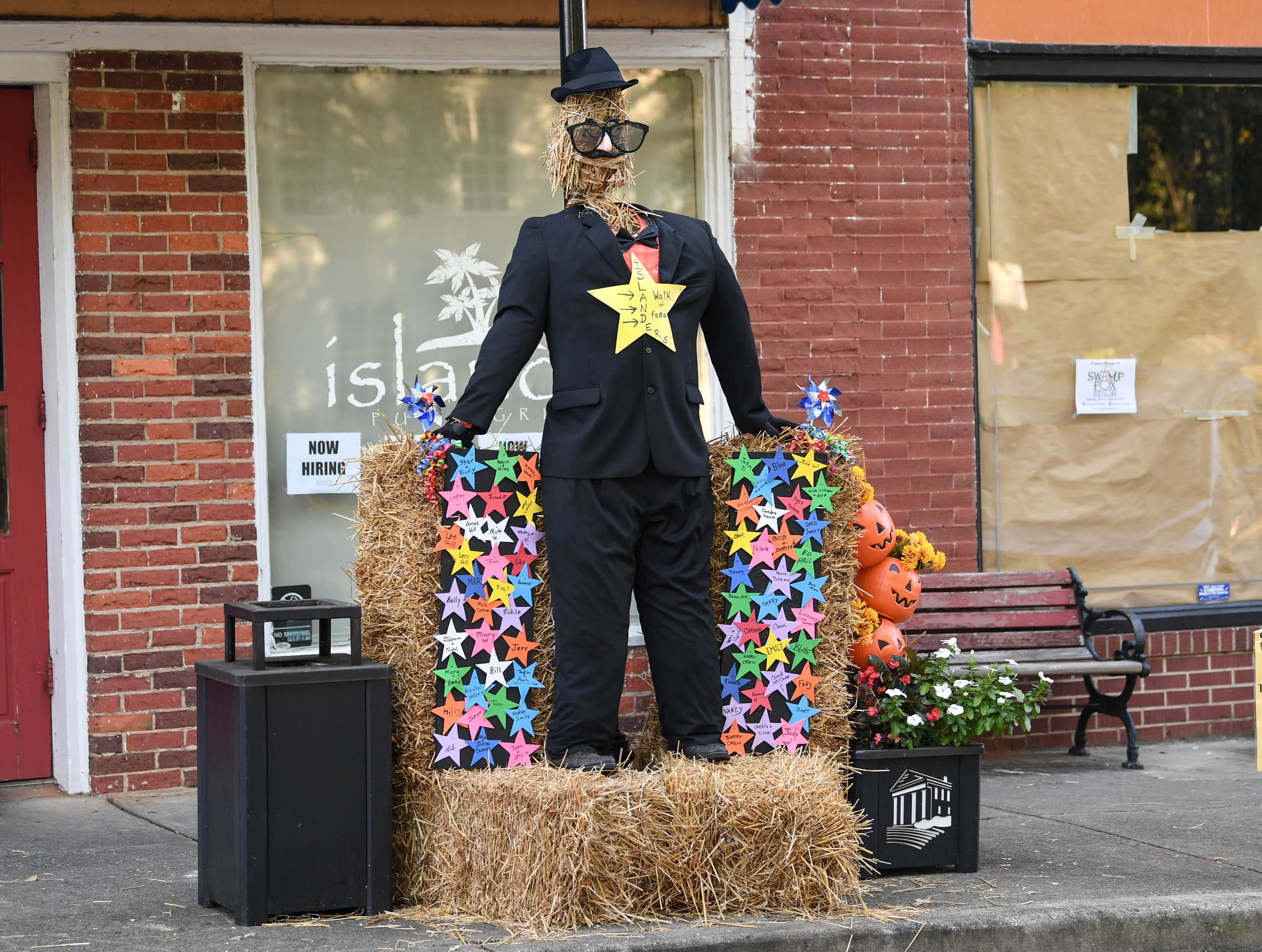 A scarecrow on display in front of the Lazy Islander is one of many displays in The Pendleton Scarecrow Contest leading up to the 20th Fall Harvest Festival in the village green Saturday, October 6 from 10 a.m. to 5 p.m. The annual contest in Pendleton for businesses, individuals, groups, organizations and churches who create fun not scary Scarecrows. People driving around the downtown square can see different theme scarecrows.