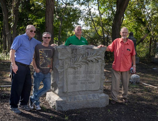 Instrumental in repairing the run down cemetary are Ed Balyk, Robert Scifo, Jim Falco, and John Swartz. The old Truax/Palmer cemetery in Keansbug which has been refurbished after decades of decay. Photos taken on October 3, 1018 in Keansburg, NJ.
