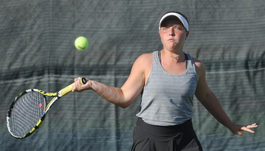 Abilene High's Rachel Tebow eyes the ball during her doubles match against Cooper's Byrin Hollowell and Caroline Statler. Tebow and Lauren Schaeffer won the match 6-1, 6-0, and Abilene High beat the Cougars 11-8 in the non-district match Tuesday, Oct. 2, 2018, at the Cooper tennis courts.