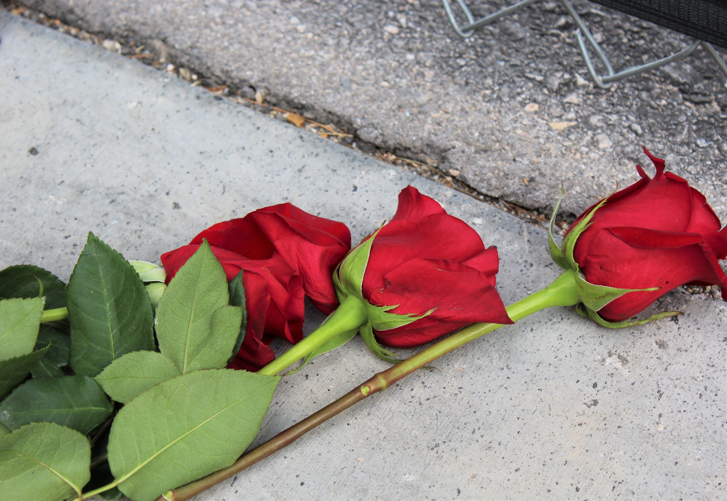 Fifty-nine roses were placed at a gate entrance to where thousands of concertgoers had gathered Oct. 1, 2017. A man began shooting from a hotel room across the street, killing 58 and injuring almost 1,000 more.