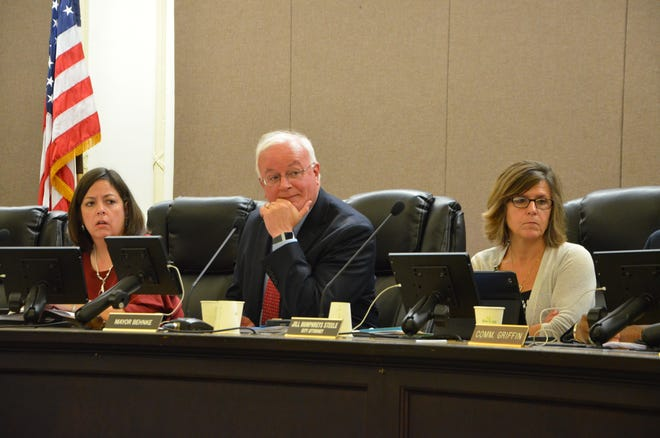 Battle Creek City Manager Rebecca Fleury, Mayor Mark Behnke, City Attorney Jill Steele at the Oct. 2 meeting. Fleury and Steele recently had raises approved by the city commission.