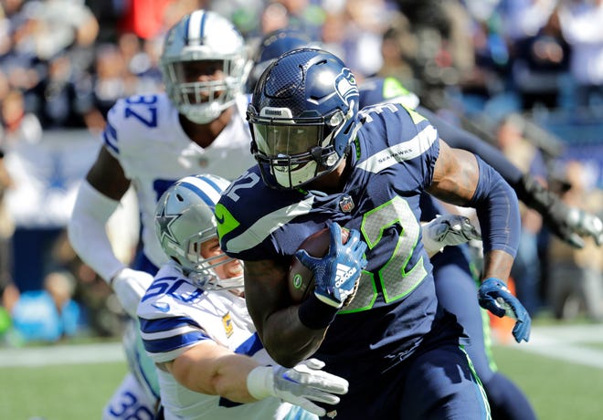 Seahawks running back Chris Carson gained 102 yards two weeks ago against Dallas.