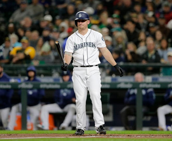 Mariners third baseman Kyle Seager after striking out during a Sept. 24 game against the Oakland Athletics. Seager hit just .220 in 2018, one year after hitting .249. Both were career lows.