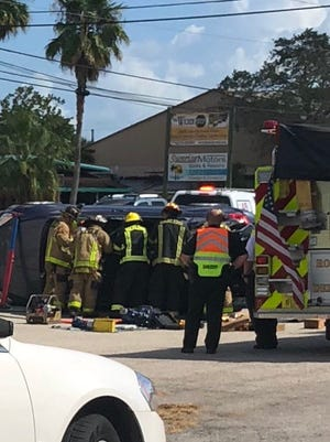 Firefighters extricated a motorist in an overturned vehicle on U.S. 1 south of Rockledge Wednesday