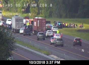 A crash was blocking traffic on northbound Interstate 95 near Canaveral Groves