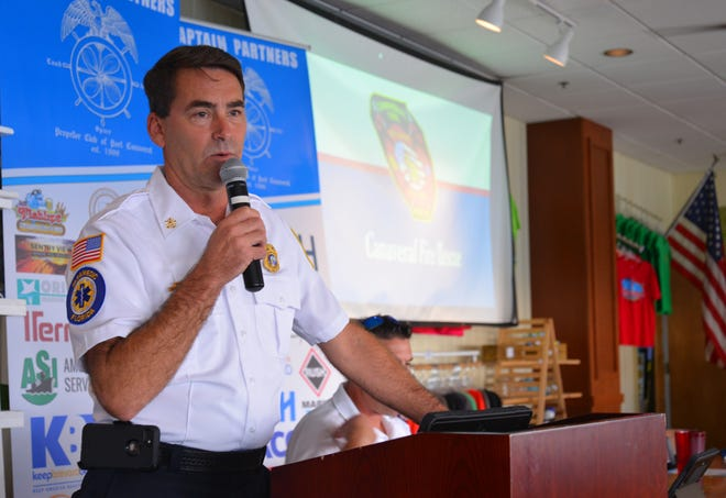 Canaveral Fire Rescue Chief Dave Sargeant discusses preparations for  liquefied natural gas fueling operations at Port Canaveral, during a meeting of the Propeller Club of Port Canaveral.